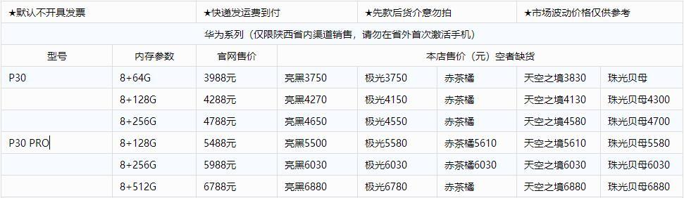 华为p30 pro 最新报价单,华为P30 5月份批发报价表,陕西